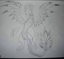 Feathery Dragon Sketch by Anonymous-Mystique