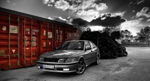 Red Containers and a Saab by Sapka