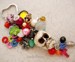 Skull charm keychain by janedean