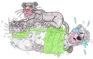 Baloo Tickle Torture Bagheera's Ticklish Claws by KnightRayjack