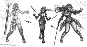 Conceptual figures 3: Female Spellswords by Taylor-payton