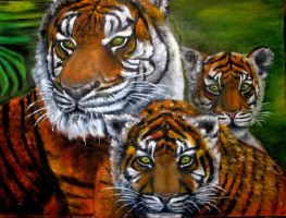 Tigers family oil painting by belka10