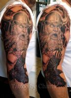 Viking sleeve in progress tattoo by gettattoo