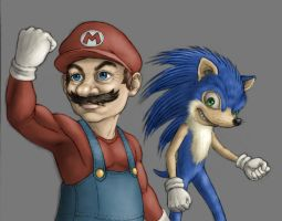 mario and sonic by l-gray-l