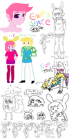 Mess of PG+F Doodles by SpazzyMouseGirl