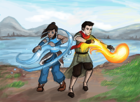 Mako and Korra by summer-daze