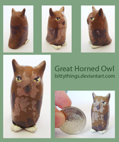 Great Horned Owl - GIFT by Bittythings