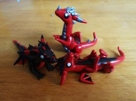 Red and Black Baby Dragons by ByToothAndClaw