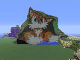Tails Pixel Art in Minecraft by psparrow