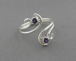 SS Amethyst Scroll Ring by GipsonDiamondJeweler