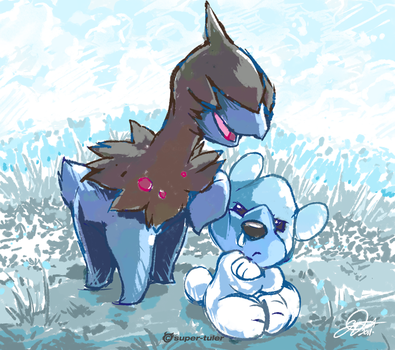 Deino and Cubchoo by super-tuler