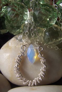 Sterling and Opalite Pendant by LiquidSilver1