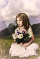 Girl with Lilac flowers by realdarkwave