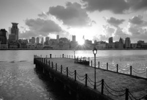B-W film of the bund by jaywang