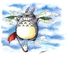 Flying Totoro by Dzoan