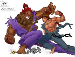 evil ryu vs akuma by claes-gascogne