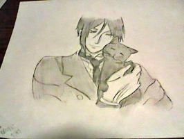 Black Butler-Sebastian and Cat by InSaNe-AsYlUmGiRl14