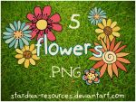 5 Flowers .PNG set by stardixa-resources