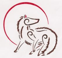Red Moon Wolf Abstract by Doofus96