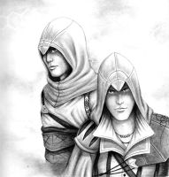 Altair and Ezio by Invader-Shi