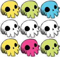 Happy skulls t-shirt design by EaselWeasel