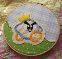 Prince Fluff (Kirby's Epic Yarn) embroidery art by usamimi