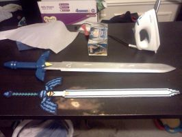 Perler Master Sword and Wooden Master Sword by ZanderYurami