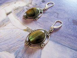 Moon Maid earrings, labradorite and silver by yinco