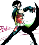 Young Justice- Robin shooting by char0118