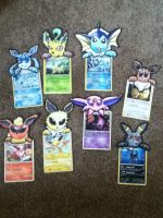 Papermon Eeveelutions with cards by Aqws7