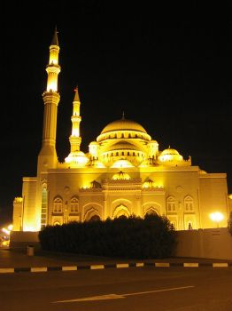 mosque minarets at night by muslimz