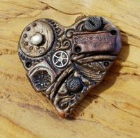 Steampunk Heart Brooch 2 by ValerianaSolaris