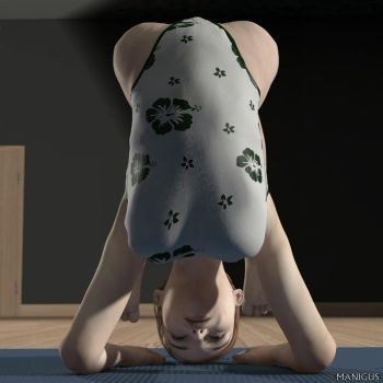 Nice flexible young lady doing yoga by Manigus