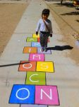 Beautiful niece in a colorful hopscotch by Johnny-Aza