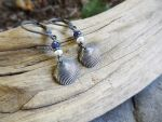 Tiny Clam Shell, Sapphire and Pearl Earrings by QuintessentialArts
