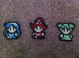 3 Goddesses from LoZ:OoS and OoA perlers by Birdseednerd