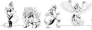 Dinosaucers drawings by KaijuSamurai
