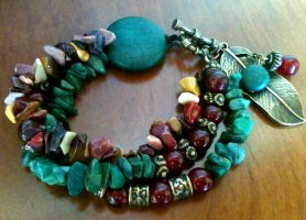 Mix of Agate and Green Nugget Multistrand Bracelet by pestenkerani