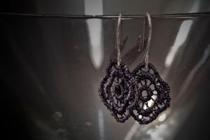 earrings - black lace by Sizhiven