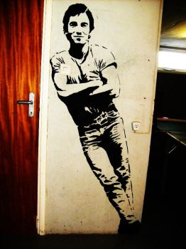 Bruce Springsteen Wallpainting by Burkpuk