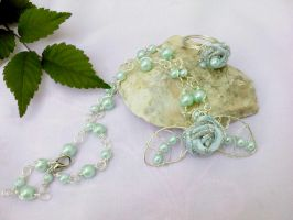 Silver necklace with flowers by Mirtus63