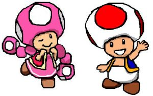 Toad and toadette by Jengarola