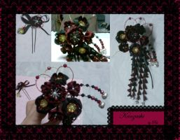 Gothic Vamp Kanzashi by apple-pai
