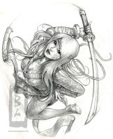 Ninja girl Sketch by angotti81