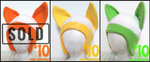 Hat Set 1 - Orange, Yellow, and Green Canine by CraftyPup