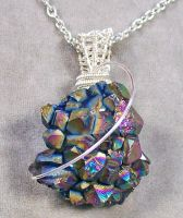 Orbit - Sunshine Titanium Crystal Druzy Pendant by HeatherJordanJewelry