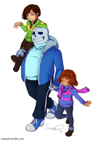 Undertale - Post Pacifist Family by Issane