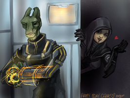 cat and salarian by PayRoo