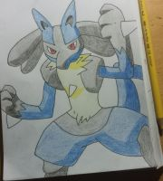 Lucario Drawing by Krayzieee