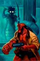 Hellboy vs Medusa by AdamShaw